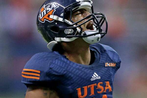 UTSA Roadrunners safety Nate Gaines celebrates after making an interception during first half action against the Arizona State Sun Devils on Sept. 16, 2016 at the Alamodome.