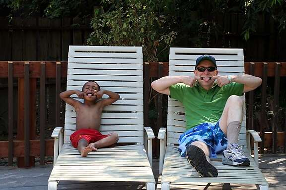Zane and Daddy at poolside