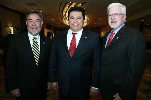 OTS/HEIDBRINK - Charles Cotrell Phd (Honoree), Rolando Pablos (Hispanic Chamber Board Chair) and Kevin Moriarti (Honoree) were at the Hispanic Chamber of Commerce Business Awards Banquet on 9/30/2009 at the Marriott Rivercenter Hotel. This is #1 of 2 photos. names checked photo by leland a. outz