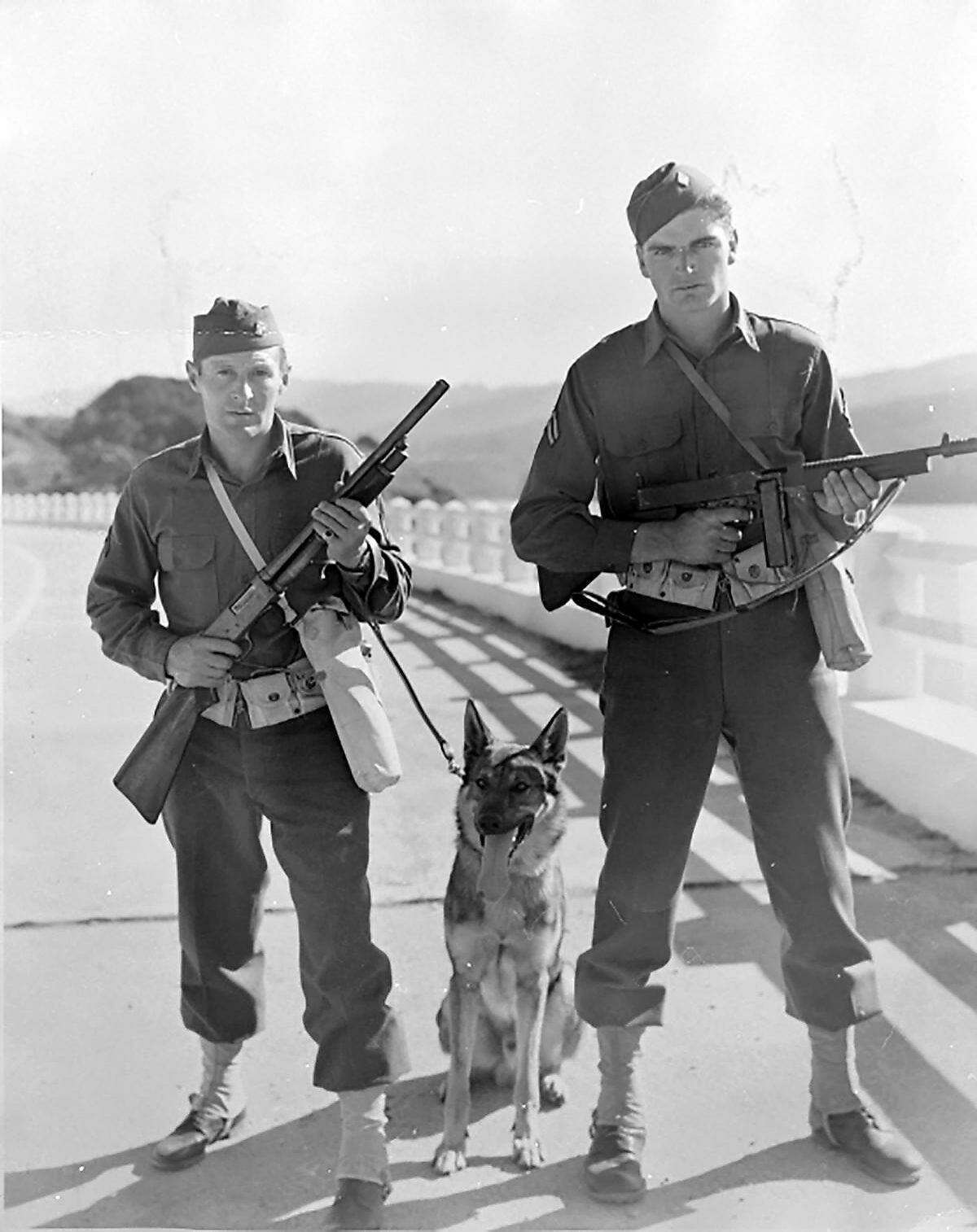 Soldiers guard Crystal Springs Dam in San Mateo County during World War II. Photo: San Mateo County Historical Association collection