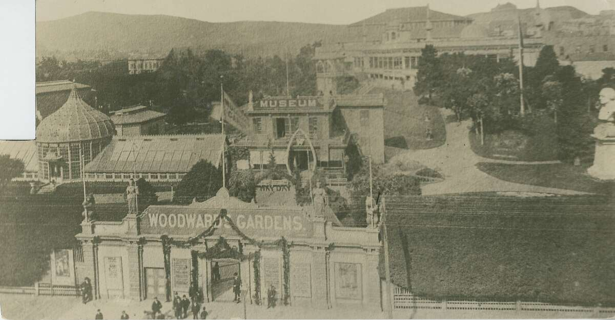 Early view of Woodward's Garden shows the entrance to the amusement park which was on Mission and 13th Streets. The park, which opened in 1866 and closed in the 1890's, attracted thousands of people. This rare image comes from the San Francisco Chronicle's archives.