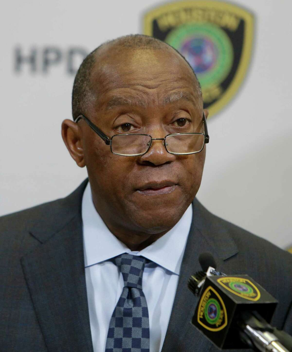 Houston Mayor Sylvester Turner speaks to the media about an investigation into the large-scale distribution of synthetic cannabinoids commonly known as kush in Houston at the Houston Police Dept. Edward A. Thomas Building, 1200 Travis, Thursday, Aug. 11, 2016, in Houston. ( Melissa Phillip / Houston Chronicle )