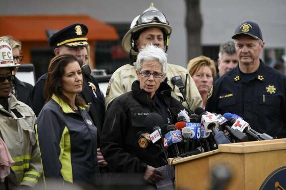 Oakland Police Department's public information officer Johnna Watson speaks during an afternoon press conference at the scene of the Ghost Ship artist warehouse fire in Oakland, CA, on Monday, December 5, 2016.