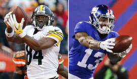 FILE - At left, in a Jan. 3, 2016, file photo, Pittsburgh Steelers wide receiver Antonio Brown catches a touchdown pass against the Cleveland Browns during an NFL football game in Cleveland, Ohio. At right, in a Nov. 15, 2015, file photo, New York Giants wide receiver Odell Beckham (13) catches a pass for a touchdown against the New England Patriots during the first half of an NFL football game, in East Rutherford, N.J. Antonio Brown and Odell Beckham Jr. are among the NFL leaders in receptions, touchdowns and flamboyant behavior. The two star wide receivers - good friends off the field - will face off on Sunday when Beckham and the Giants visit Brown and the Steelers. (AP Photo/File)