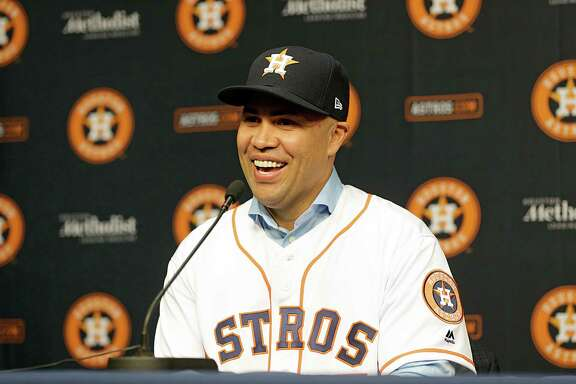 Carlos Beltran during a press conference announcing his signing of a one year contract with the Houston Astros Dec. 5, 2016, in Houston. ( James Nielsen / Houston Chronicle )