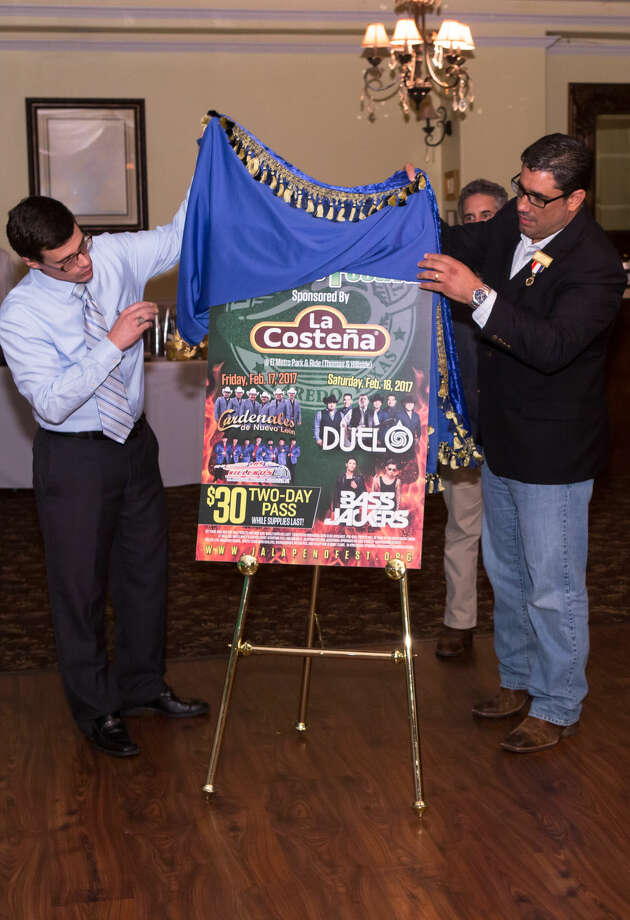 Avery Jackson (WBCA Board of Director) and Jeff Puig (President-Elect) unveiling the Entertainment Line-up for the WBCA Jalapeño Festival Sponsored by La Costeña. Photo: Courtesy Photo/WBCA