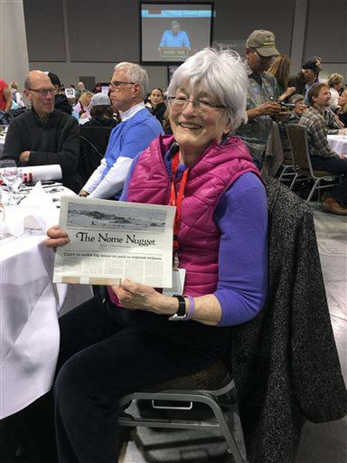 This March 3, 2016, photo provided by John Handeland shows Nome Nugget publisher Nancy McGuire at a banquet in Anchorage, Alaska. Handeland, her friend and a longtime former mayor of Nome, said McGuire died Thursday, Nov. 17, 2016, in Nome, Alaska, after battling cancer for years. (John Handeland via AP) Photo: John Handeland