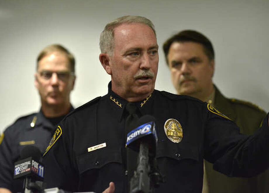Santa Maria Police Chief Ralph Martin addresses reporters during a press conference about Operation Matador. It was recently revealed that Martin and his department issued a fake press release as a tactic, he said, that saved lives and helped add convincing evidence against the members of MS-13 currently awaiting trial. (Len Wood/The Santa Maria Times via AP) Photo: Len Wood