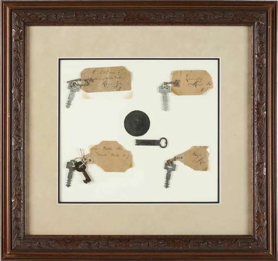 This photo provided by Heritage Auctions shows Thomas A. Edison: Keys to His Menlo Park Laboratory on display. Six keys in all from the famous inventor's Menlo Park home and work place will be auctioned Saturday, Dec. 3, 2016 in Dallas, along with five lightbulbs, including two that he created. Heritage Auctions will open the bidding on the two lots. (Heritage Auctions via AP) Photo: HONS