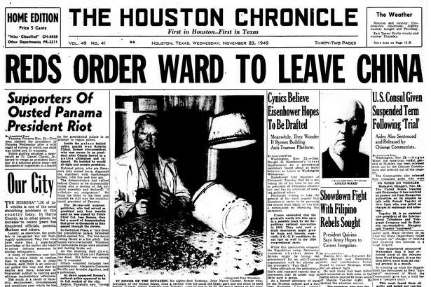 Houston Chronicle front page (HISTORIC) - November 23, 1949 - section 1, page 1. 'Inside Dope' Wanted On Comic Strip People