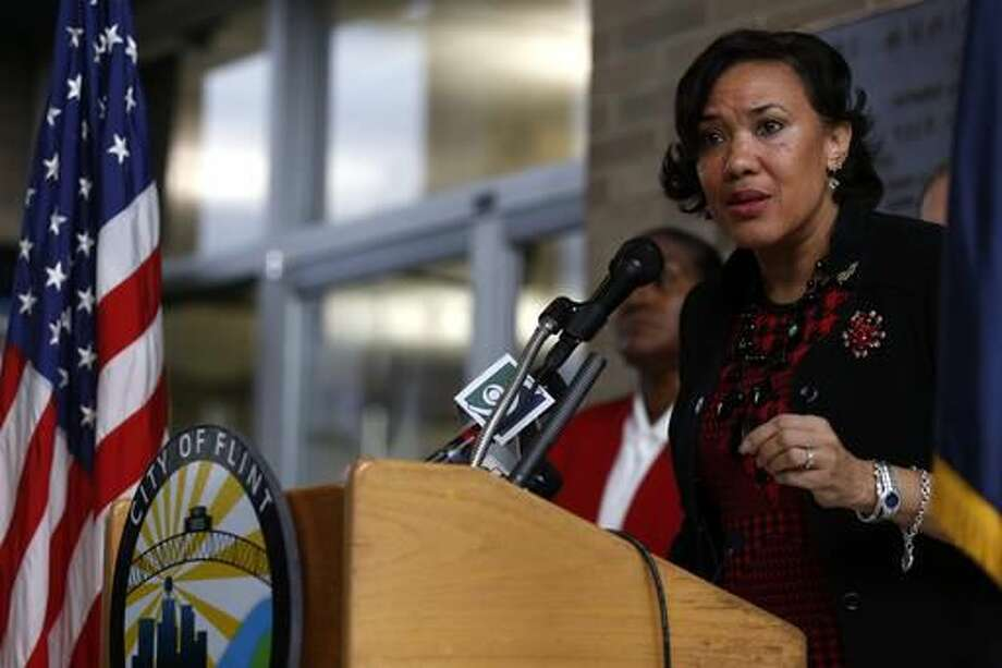 Flint Mayor Karen Weaver gives updates on the FAST Start program and the city's plan to hire Flint residents to distribute water and filters as well as to educate the community in proper filter installation and maintenance on Friday, Dec. 2, 2016, at Flint City Hall in downtown Flint, Mich. (Tegan Johnston/The Flint Journal-MLive.com via AP) Photo: Tegan Johnston