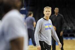 Warriors head coach Steve Kerr watches his players warm up before the Golden State Warriors practiced at Chesapeake Energy Arena in Oklahoma City, Okla., on Monday, May 23, 2016. The Warriors will play the Oklahoma City City Thunder in Game 4 of the Western Conference Finals on Tuesday