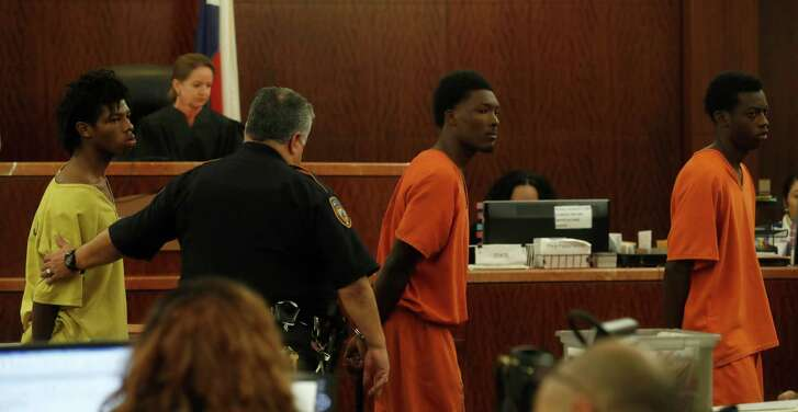Philip Battles, 18, from left, Ferrell Dardar, 17, and Marco Alton Miller, 17, appeared before Judge Katherine Cabaniss on Monday at the Harris County Criminal Courthouse. They have been charged with capital murder in the shooting death of a 4-year-old girl killed during a robbery as her family was unloading groceries. Ava Castillo died and her mother and 10-year-old sister were injured in the incident.