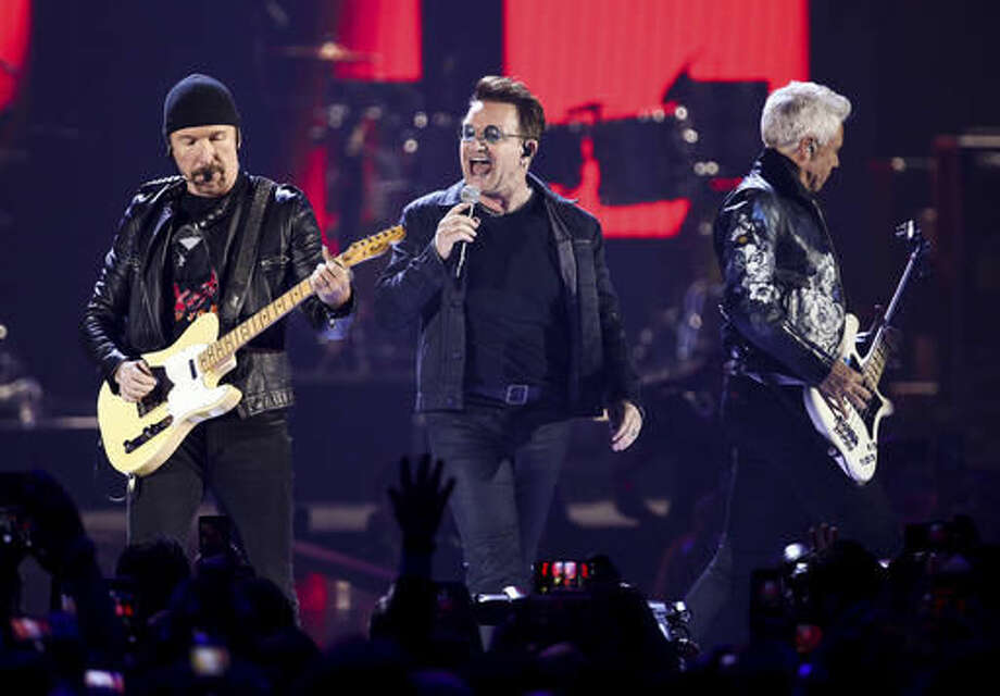 FILE - In this Sept. 23, 2016 file photo, The Edge, from left, Bono and Adam Clayton of the Irish rock band U2 performs at the 2016 iHeartRadio Music Festival in Las Vegas. (Photo by John Salangsang/Invision/AP, File) Photo: John Salangsang