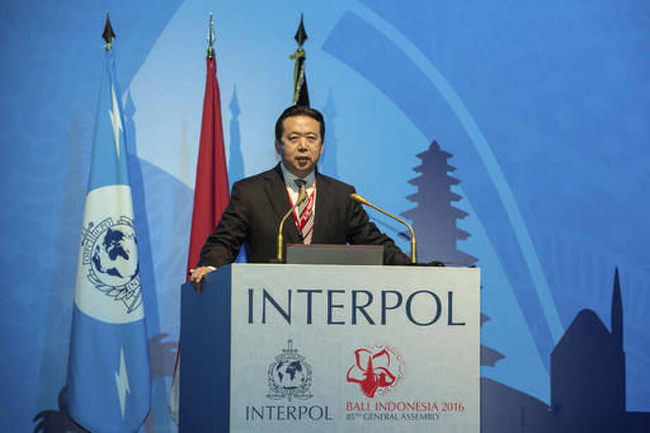 In this photo released by Xinhua News Agency, China's Vice Minister of Public Security Meng Hongwei delivers a campaign speech at the 85th session of the general assembly of the International Criminal Police Organization (Interpol), in Bali, Indonesia, Nov. 10, 2016. The top Chinese police official was elected president of Interpol on Thursday, setting off alarm bells among rights advocates over the legitimization of abuses and lack of transparency within China's legal system. (Du Yu/Xinhua via AP) Photo: Du Yu