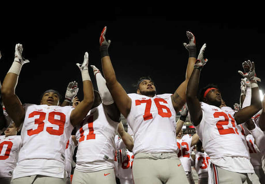 Ohio State players sing after an NCAA college football game against Maryland in College Park, Md., Saturday, Nov. 12, 2016. (AP Photo/Patrick Semansky) Photo: Patrick Semansky