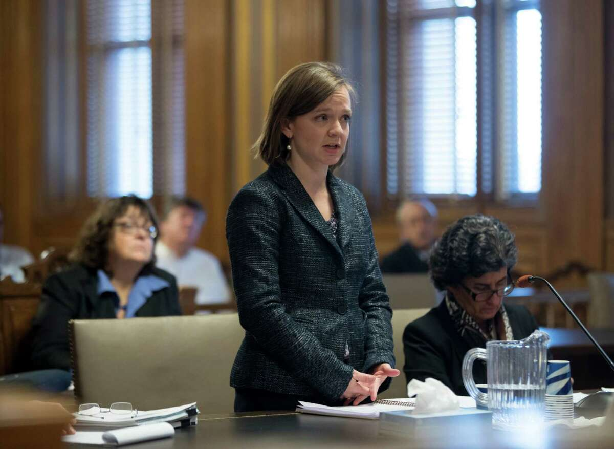 Assistant Attorney General Meredith Lee-Clark, representing the state Department of Environmental Conservation, speaks during a hearing on new snowmobile trails being carved through the Adirondack forest on Monday, Dec. 5, 2016, in Albany, N.Y. A state court will decide whether the new trails violate the