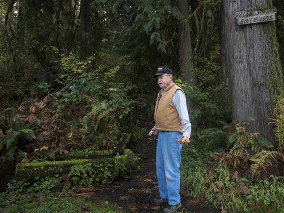 In this photo taken on Friday, Nov. 4, 2016, Rueben Herndon stands alongside his family's historic Wales Spring along Evans Road outside Toledo, Wash. Herndon, 84, was disappointed to have to limit access to the spring, but is thankful that he is still able to represent his family's heritage. Herndon's grandfather created the water system that produces the pool from the spring in 1885. (Pete Caster/The Chronicle via AP) Photo: Pete Caster