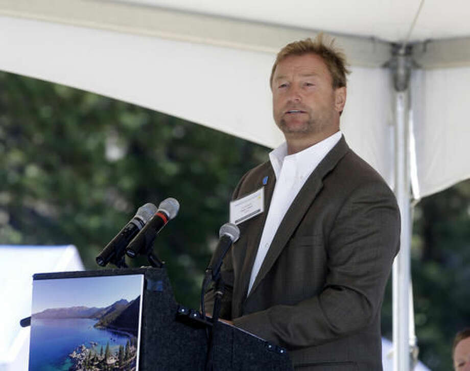 FILE - This Monday, Aug. 24, 2015 file photo U.S. Sen. Dean Heller, R-Nev., speaks at the 19th Annual Lake Tahoe Summit at Zephyr Cove, in South Lake Tahoe, Nev. The women's rights group UltraViolet ran a full-page ad in the Reno Gazette-Journal this week accusing Heller of doing nothing when president-elect Donald Trump named Steve Bannon as chief White House strategist. .The group acknowledges Heller can't directly block Trump's adviser choice, but says he could refuse to approve other Trump nominees until Trump boots Bannon. (AP Photo/Rich Pedroncelli, File) Photo: Rich Pedroncelli
