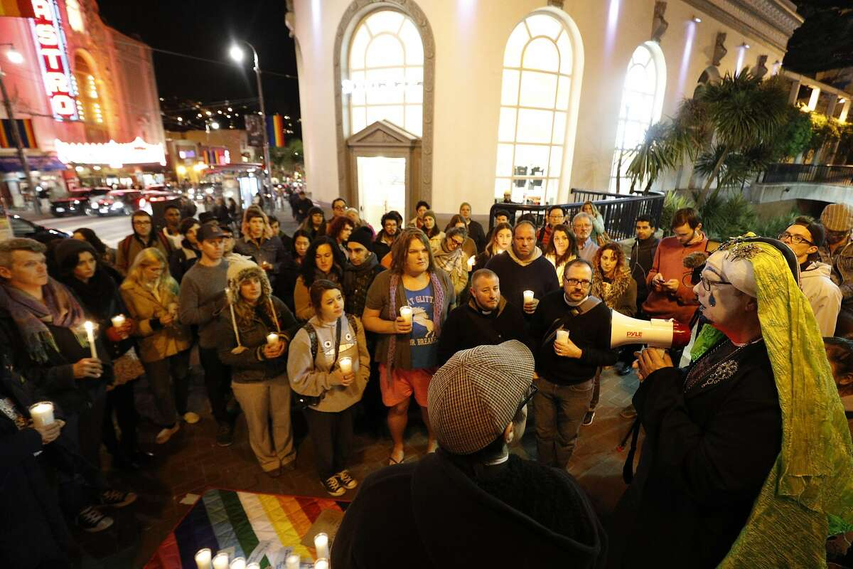 Sister Mary Peter speaks at a vigil for the December 2, 206 Oakland warehouse fire that killed at least 36 people in the San Francisco, CA.