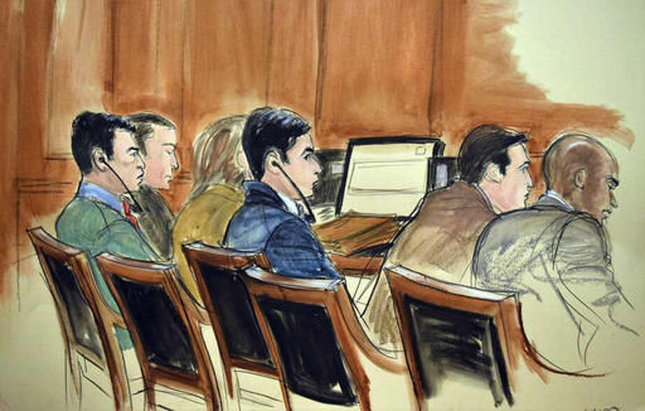 FILE - In this Nov. 14, 2016 courtroom file sketch, the drug trial of two nephews of Venezuela's first lady proceeds in New York with, from left, Francisco Flores, with earphones and Efrain Campo, with earphones. The government's star informants in the case are duplicitous liars according to defense lawyers, and prosecutors learned that while working for the DEA, the witnesses Santos-Pena and Santos-Hernandez were also hard at work smuggling drugs themselves. (AP Photo/Elizabeth Williams, File) Photo: Elizabeth Williams