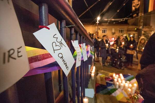 Signs posted at a vigil for the December 2, 206 Oakland warehouse fire that killed at least 36 people in the San Francisco, CA. Castro District on Monday, December 5, 2016 Castro St. and Market.