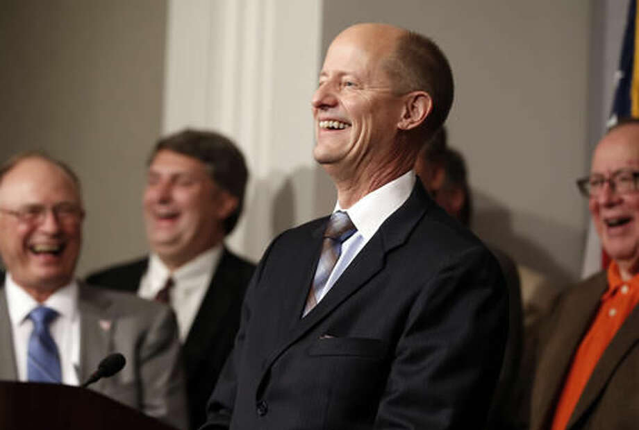 State Senate Majority Leader Paul Gazelka is joined in laughter by Senate Republicans at a question from the media after he was elected, Thursday, Nov. 10, 2016, at the State Capitol in St. Paul, Minn.( AP Photo/Jim Mone) Photo: Jim Mone