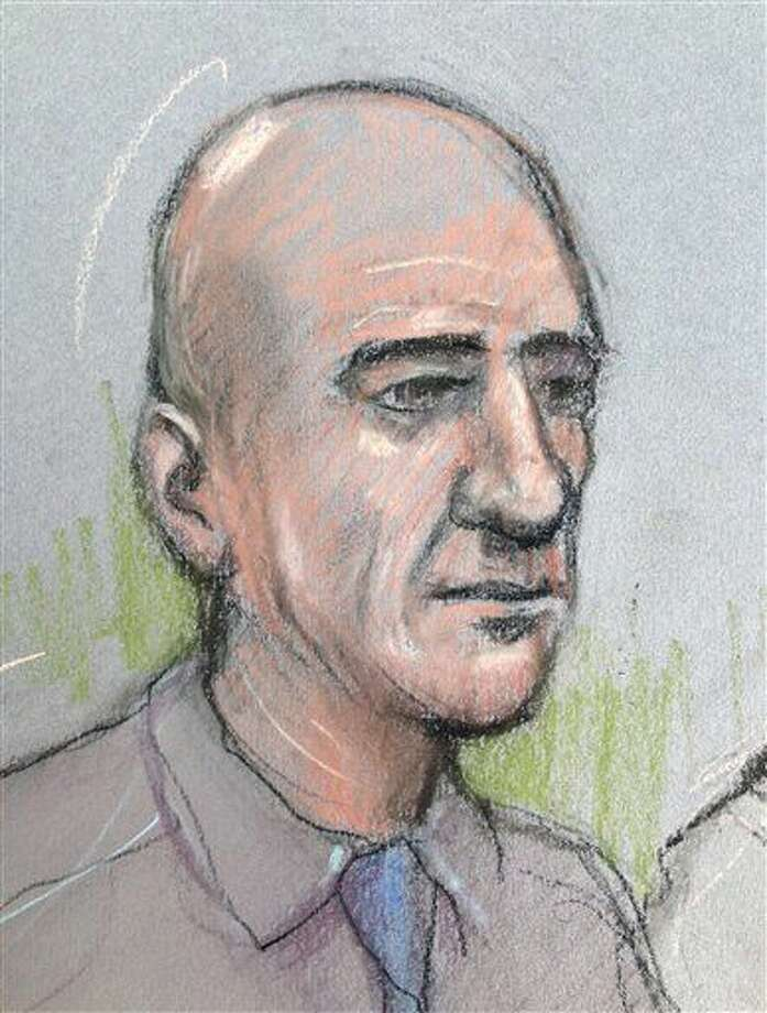 FILE - This Oct. 4, 2016 court sketch by court artist Elizabeth Cook shows Stephen Port appearing at The Old Bailey in London. Port was convicted Wednesday Nov. 23, 2016, of murdering three men he met on gay dating websites. (Elizabeth Cook/PA via AP, File) Photo: Elizabeth Cook