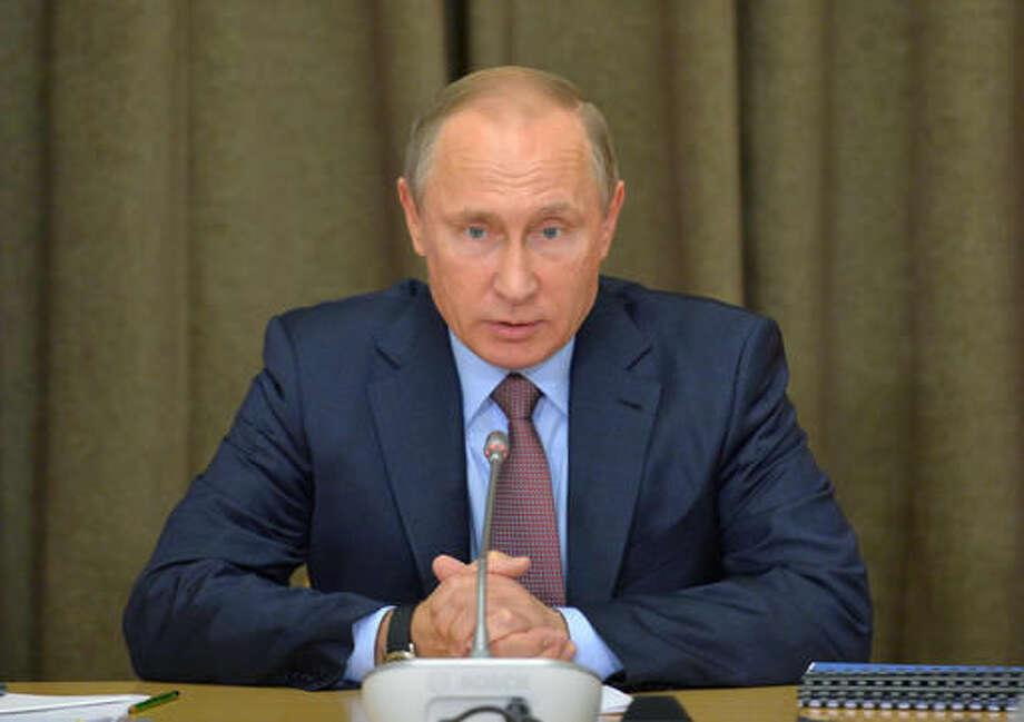 Russian President Vladimir Putin heads a meeting on military industry issues in the Black Sea resort of Sochi, Russia, Tuesday, Nov. 15, 2016. (Alexei Druzhinin/Sputnik, Kremlin Pool Photo via AP) Photo: Alexei Druzhinin