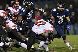 Class S High School semi-final football action between the Ansonia Chargers and the Cromwell/Portland Panthers on December 5, 2016 at Jarvis Stadium in Ansonia, Connecticut.