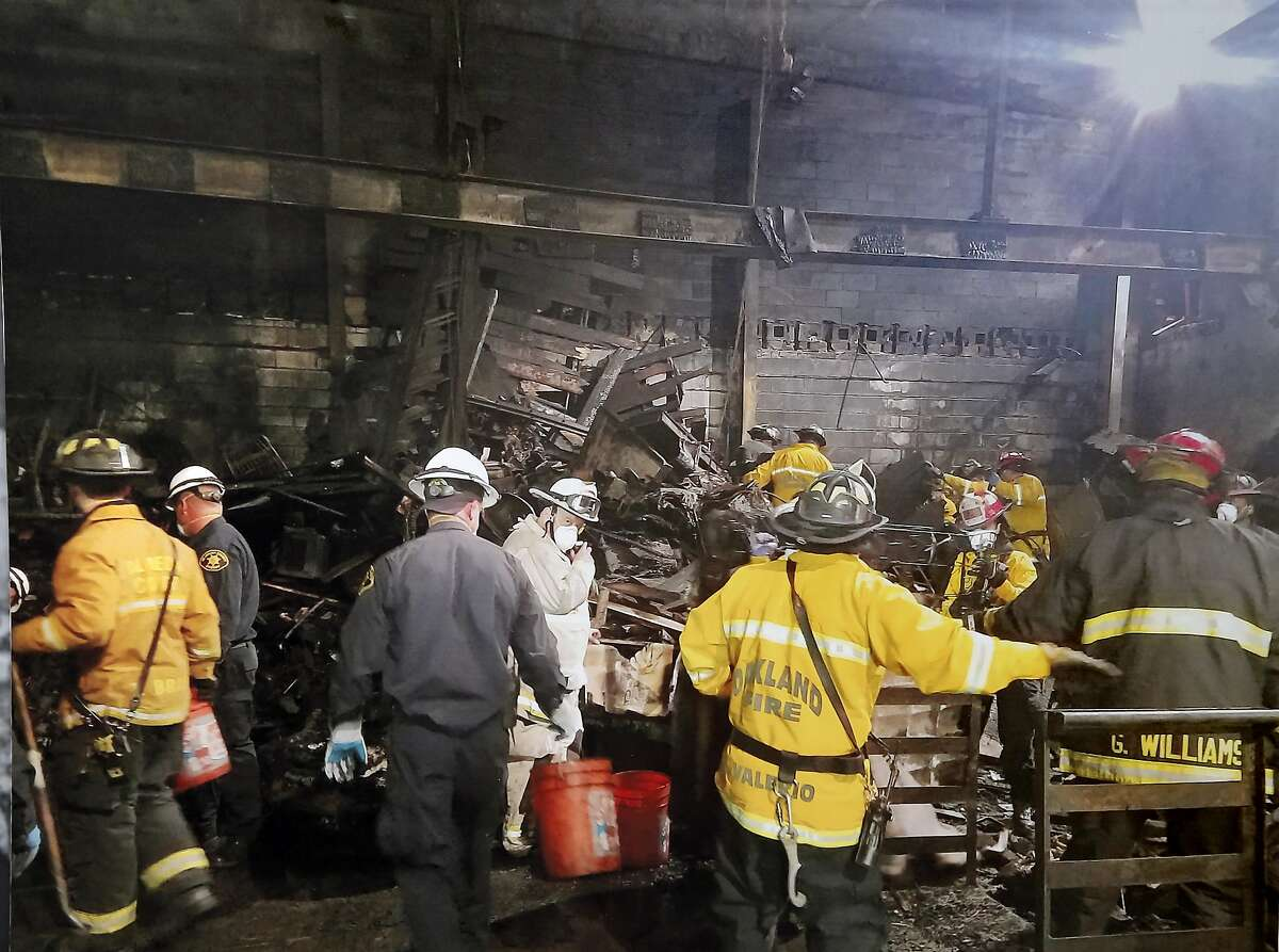 A photo released by the Oakland Fire Department shows an interior view of the fire destruction following the Ghost Ship fire.