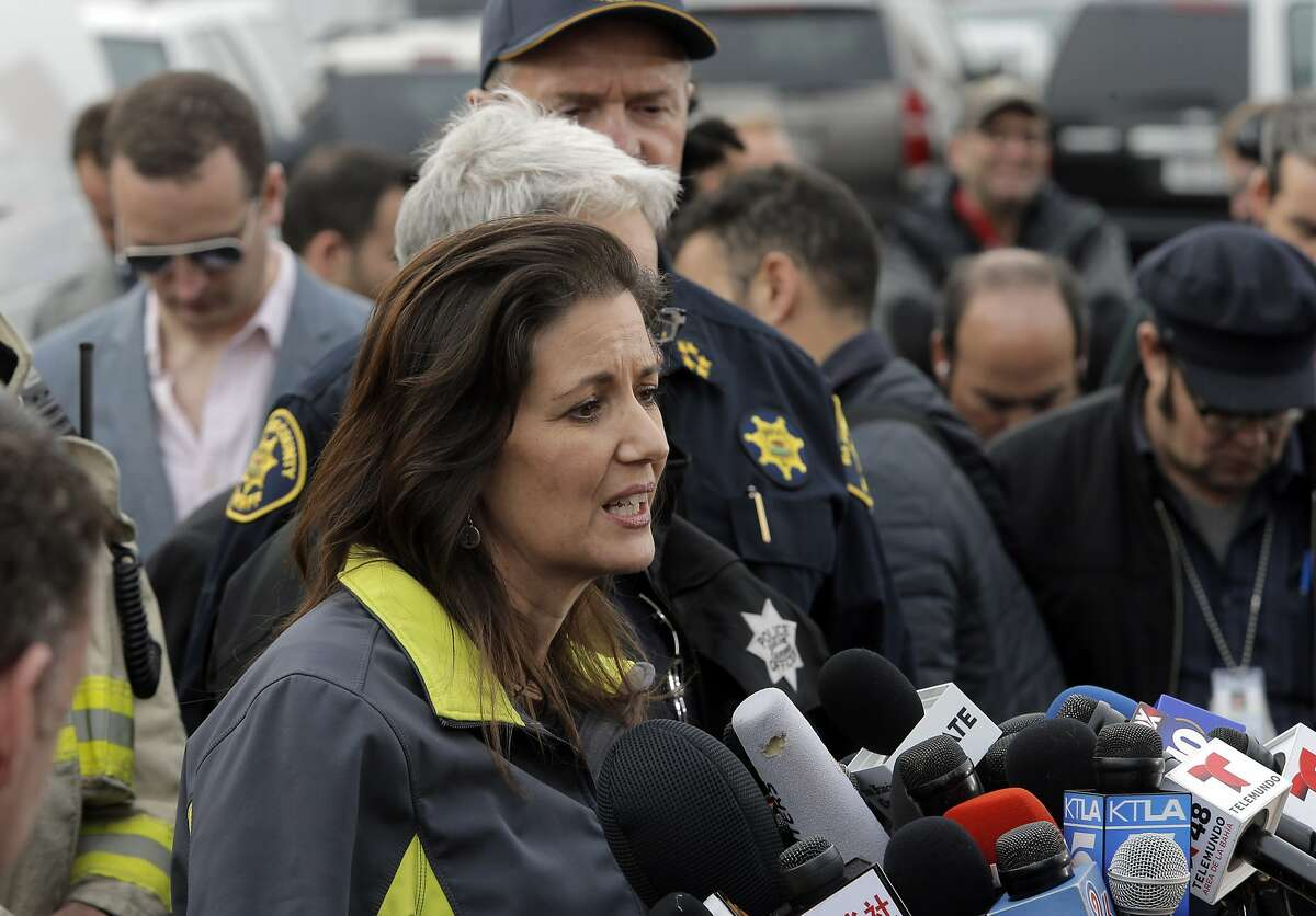 Oakland Mayor Libby Schaaf speaks to the press as recovery efforts continue following the Ghost Ship fire that has so far claimed 36 lives in Oakland, Calif., on Monday, December 5, 2016.