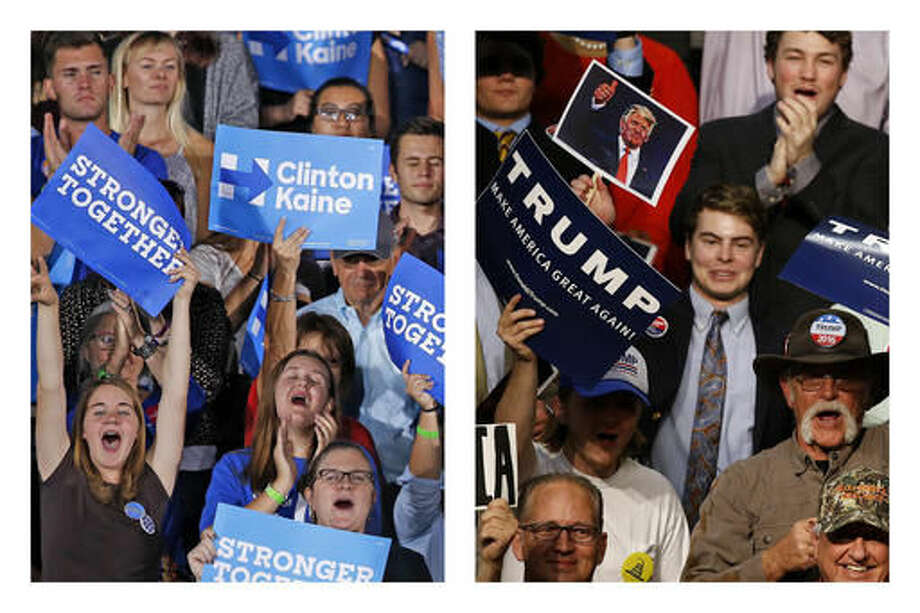 "This combination of photos shows supporters of Democratic presidential candidate Hillary Clinton in Tempe, Ariz., on Wednesday, Nov. 2, 2016, and supporters of Republican presidential candidate Donald Trump in Baton Rouge, La., on Thursday, Feb. 11, 2016. Voters' intense negative feelings about Trump and Clinton may say as much about the times as the candidates, says David Greenberg, a professor of history at Rutgers University and author of ""Republic of Spin: An Inside History of the American Presidency."" ""There's something about the polarized climate that we're in that leads us to feel these things more strongly, to regard the opposition with such hostility, to talk in terms of threats to the Republic, to say 'Lock her up,' in ways we wouldn't have 30 years ago."" (AP Photo/Ross D. Franklin, Gerald Herbert) Photo: Ross D. Franklin, Gerald Herbert"