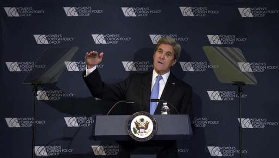 Secretary of State John Kerry speaks to the Women's Foreign Policy Group in Washington, Tuesday, Nov. 29, 2016. The (AP Photo/Susan Walsh) Photo: Susan Walsh