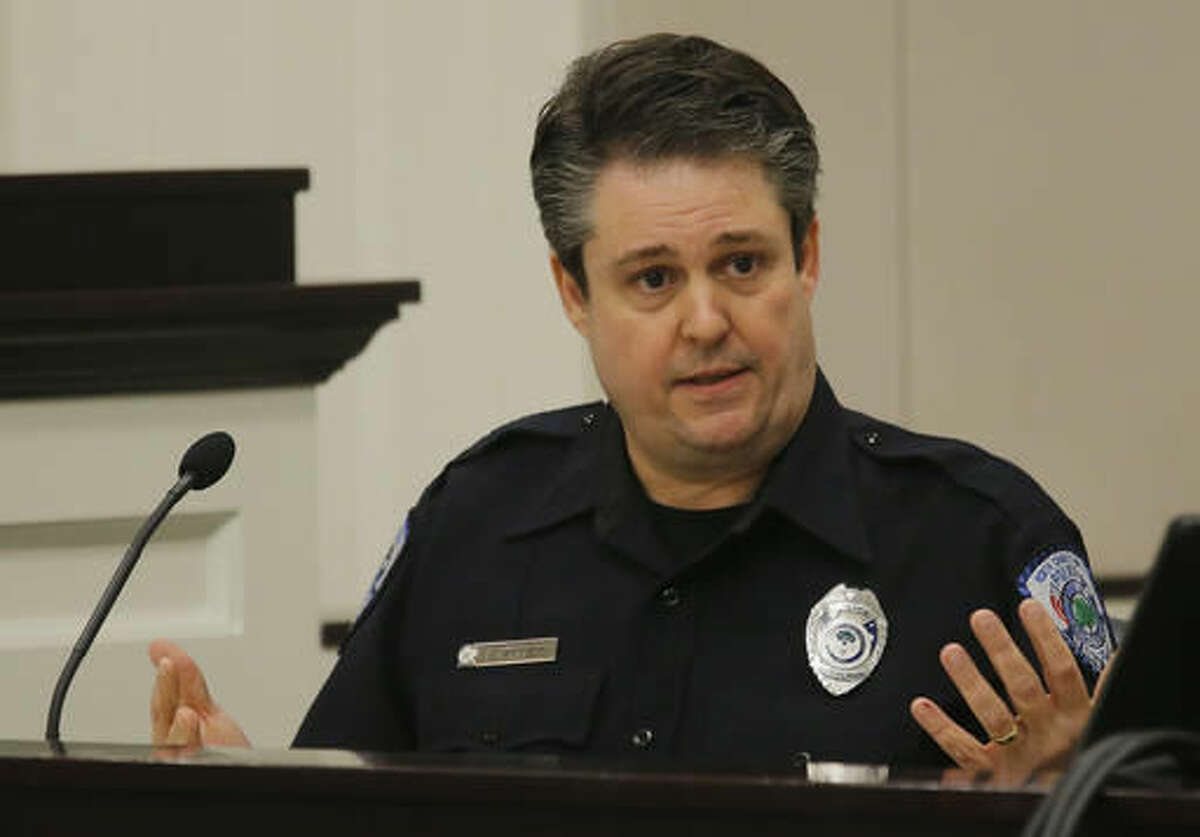 North Charleston Police Officer Jason Dandridge speaks during the murder trial of former North Charleston police officer Michael Slager at the Charleston County court in Charleston, S.C., Monday, Nov. 28, 2016. A judge is considering whether jurors will visit the spot where a white former South Carolina police officer is accused of shooting and killing an unarmed black man in North Charleston. (Grace Beahm/Post and Courier via AP, Pool)