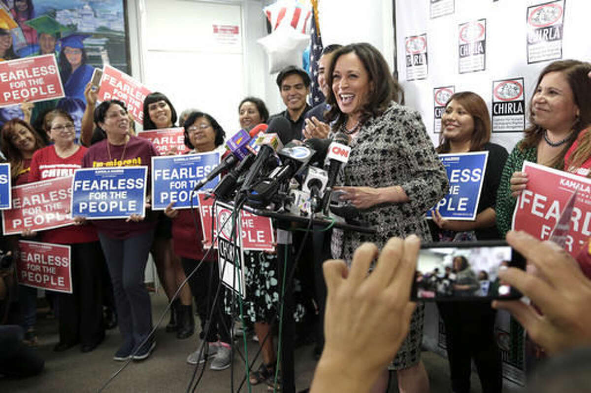 Senator-elect Kamala Harris addresses the media as she meets with immigrant families and their advocates to discuss the election results and the nation's future at The Coalition for Humane Immigrant Rights in Los Angeles, Thursday, Nov. 10, 2016. Harris said she will fight to preserve protections advocates fear could be dismantled once Donald Trump becomes president. (AP Photo/Nick Ut)