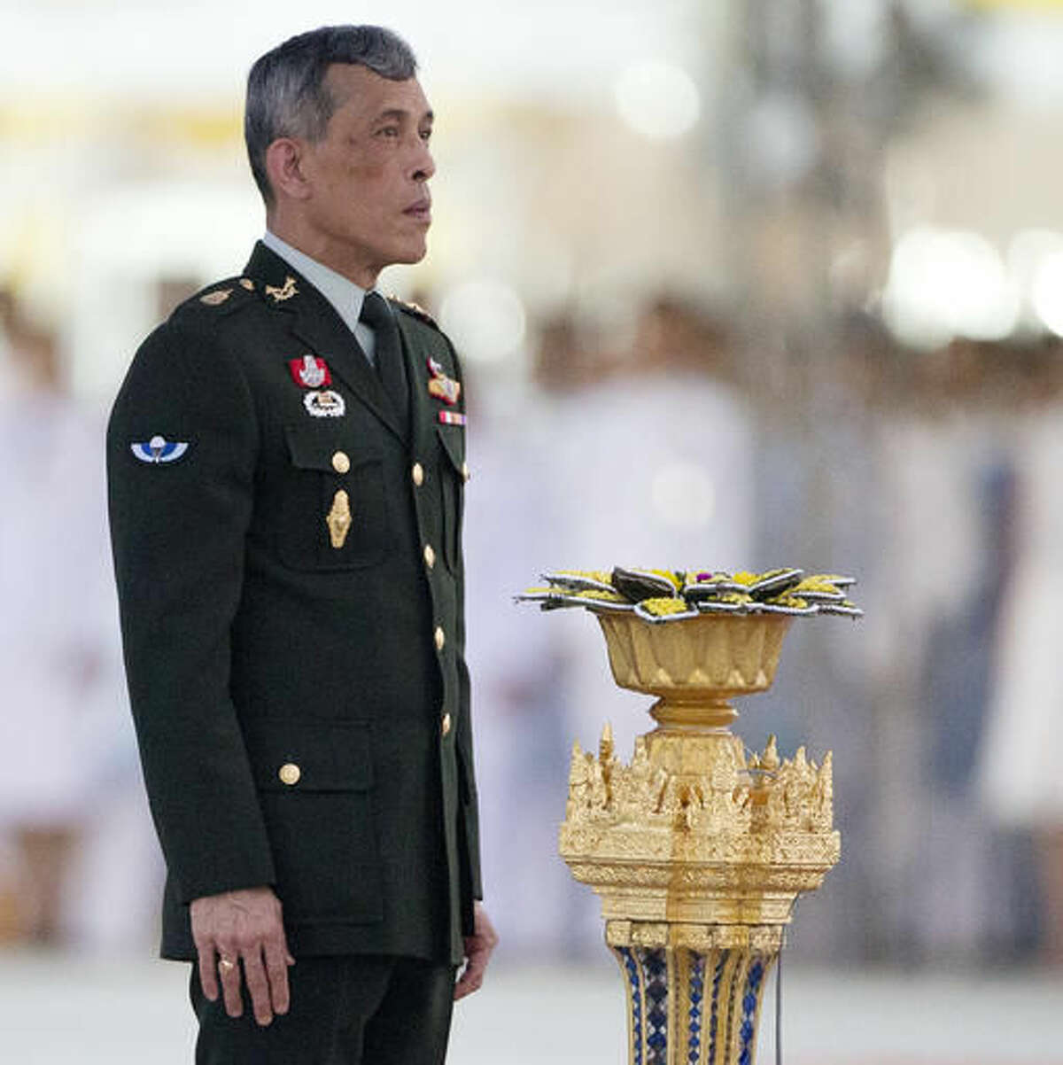 FILE - In this Sept. 26, 2015, file photo, Thailand's Crown Prince Vajiralongkorn hosts a ceremony at the official opening of Ratchapakdi Park in Hua Hin, 240 kilometers (150 miles) south of Bangkok. Thailand's parliament has started the process of naming Crown Prince Vajiralongkorn the new king following the death of his father, Bhumibol Adulyadej, last month. Completing a formality, the Cabinet submitted Vajiralongkorn's name to the National Assembly on Tuesday after a brief meeting. (AP Photo/Mark Baker, File)
