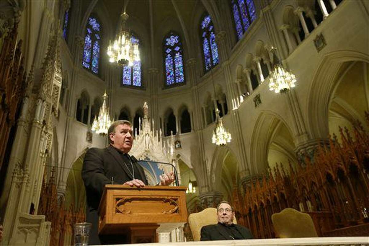 Indianapolis Archbishop Joseph W. Tobin, speaks during a press conference at the Cathedral Basilica in Newark, NJ., Monday, Nov. 7, 2016. Pope Francis on Monday tapped one of his new cardinals, Joseph Tobin, to replace Archbishop John Myers, the Newark, New Jersey, archbishop who has been criticized for allegedly mishandling sex-abuse cases and spending lavishly on his retirement home. Myers reached the mandatory retirement age of 75. (Ed Murray/NJ Advance Media via AP) (Ed Murray/NJ Advance Media for NJ.com via AP)