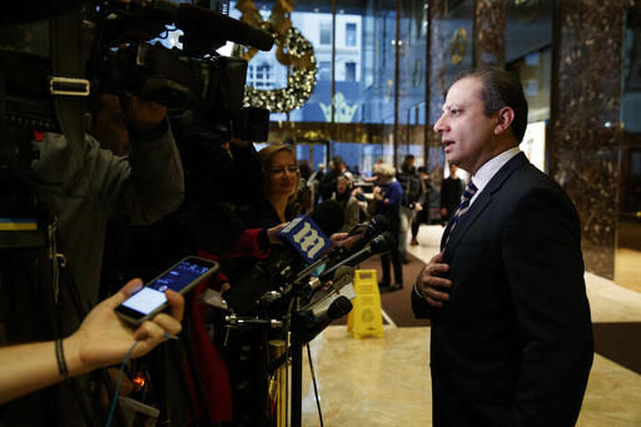 United States Attorney General for the Southern District of New York Preet Bharara speaks with reporters at Trump Tower, Wednesday, Nov. 30, 2016, in New York. (AP Photo/Evan Vucci) Photo: Evan Vucci