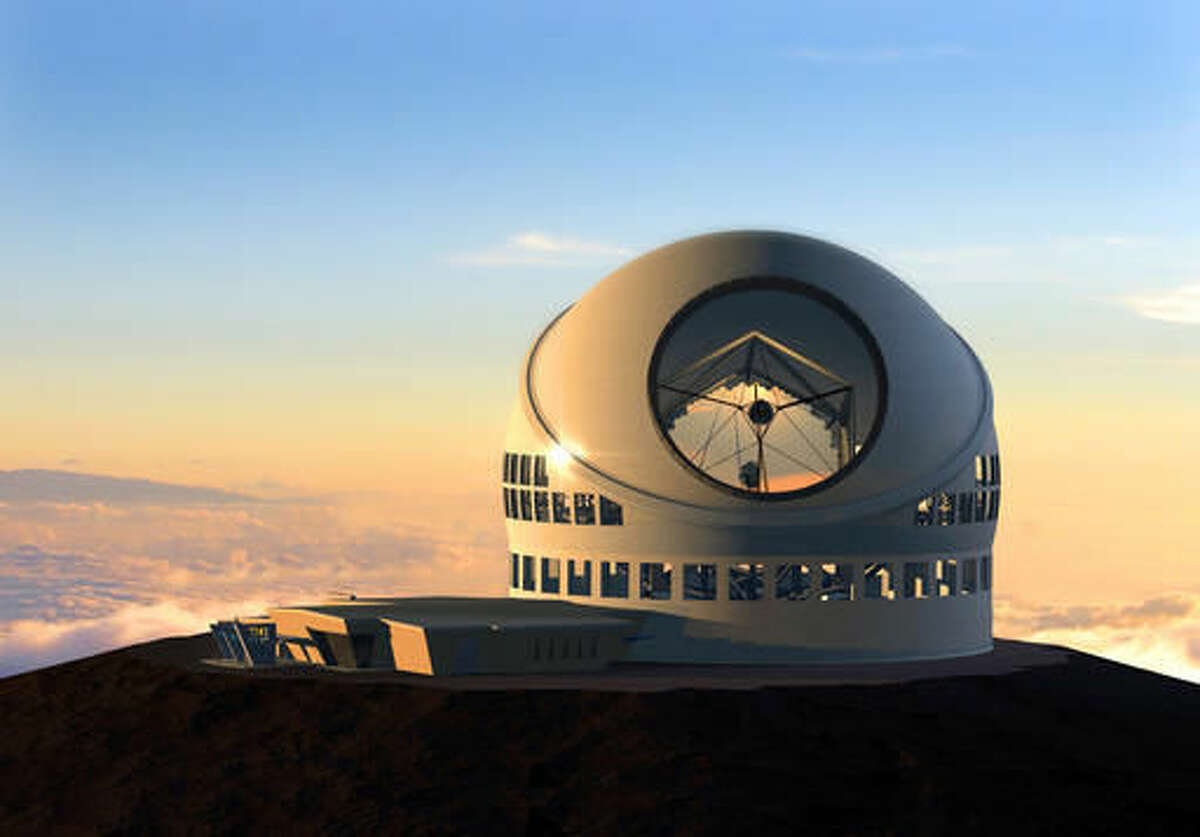 FILE - This undated file artist rendering made available by the TMT Observatory Corporation shows the proposed Thirty Meter Telescope, planned to be built atop Mauna Kea, a large dormant volcano in Hilo on the Big Island of Hawaii in Hawaii. Hearings are still underway for a permit to build what would be one of the world's largest telescopes in Hawaii, but a group challenging the project is already appealing to the state Supreme Court. Thirty Meter Telescope opponents are challenging various decisions that have been made regarding contested-case proceedings, including affirming the hearings officer and an order limiting cross-examination to 30 minutes per party. (TMT Observatory Corporation via AP, File)