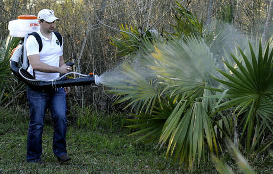 FILE- In this Feb. 10, 2016, photo, Darryl Nevins, sprays a backyard to control mosquitoes, in Houston. Texas on Monday, Nov. 28, 2016, reported its first case of Zika virus that likely came from a mosquito bite within the state. (AP Photo/Pat Sullivan, File) Photo: Pat Sullivan