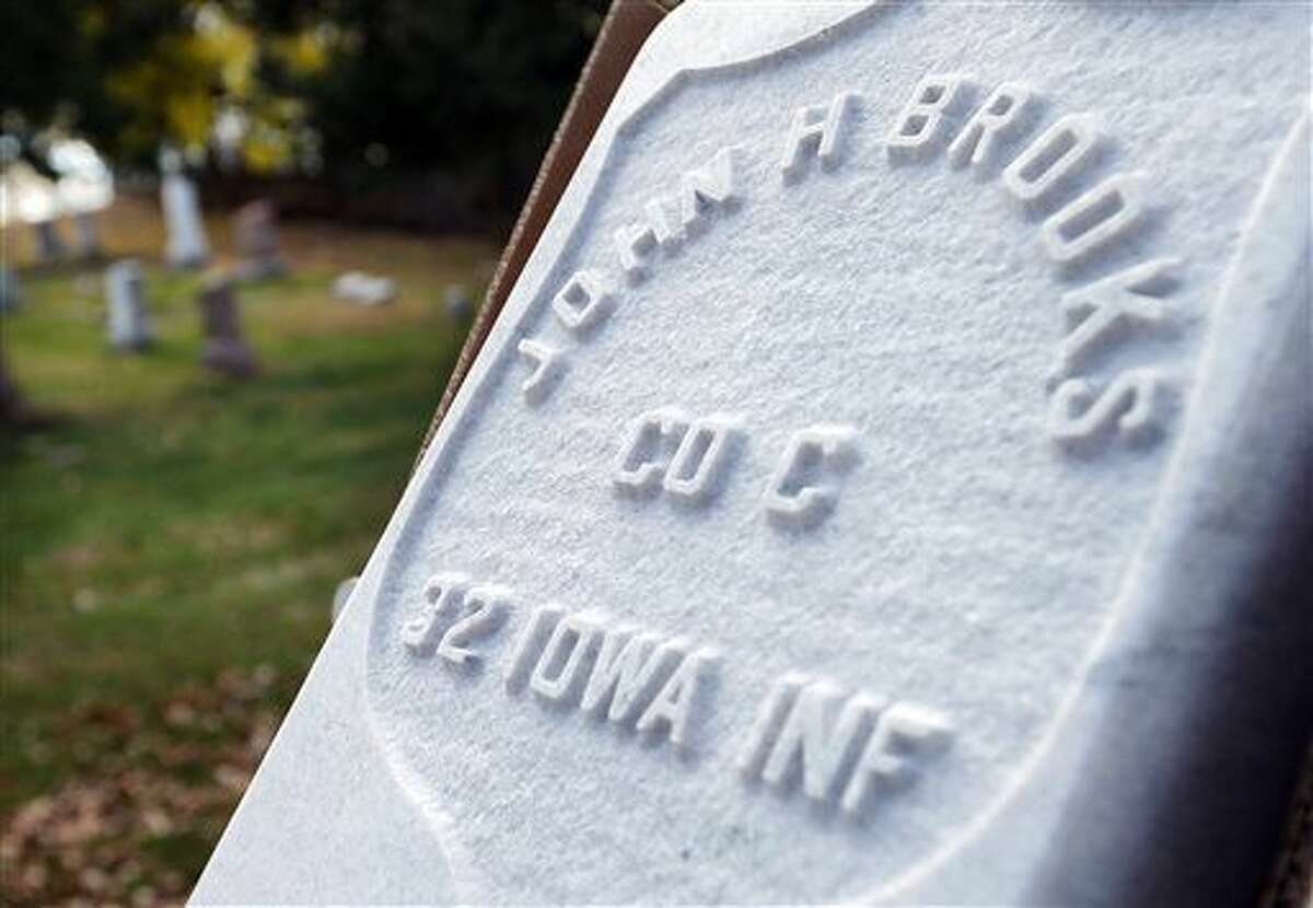 In this photo taken Nov. 2, 2016, a new marker for the Grand Army of the Republic section for Civil War veterans at Floyd Cemetery in Sioux City, Iowa, is viewed. The markers will be added for veterans who do not have any stones on their graves. (Jim Lee/Sioux City Journal via AP)