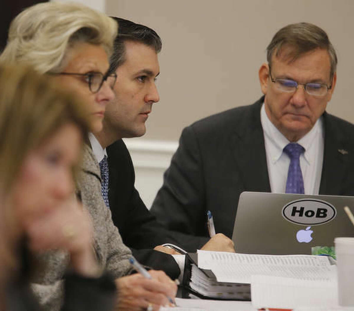 Former North Charleston Police Officer Michael Slager sits at the defense table during testimony in Slager's murder trial, Tuesday, Nov. 8, 2016, in Charleston, S.C. Slager is on trial facing a murder charge in the shooting death of Walter Scott, who was gunned down after he fled from a traffic stop. (Grace Beahm/Post and Courier via AP, Pool)