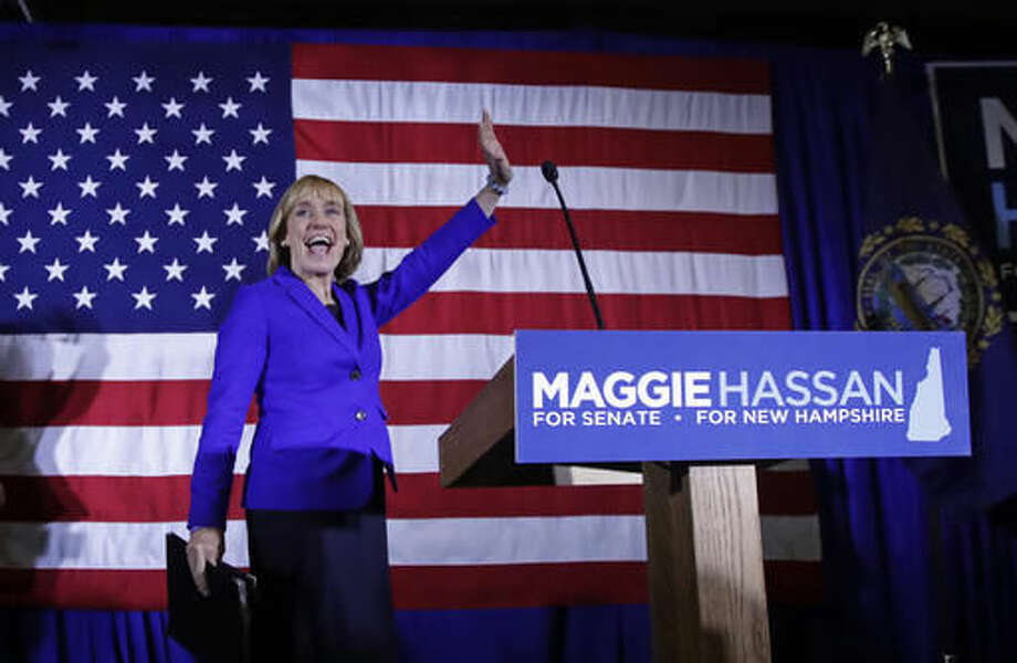 New Hampshire Democratic Senate candidate, Gov. Maggie Hassan waves to supporters during an election night rally in Manchester, N.H., early Wednesday, Nov. 9, 2016. Hassan is locked in a race to close to call with incumbent Republican Senator Kelly Ayotte. (AP Photo/Charles Krupa) Photo: Charles Krupa