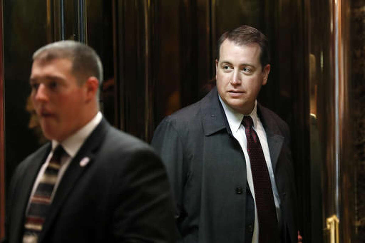 FILE - In this Tuesday, Nov. 15, 2016, file photo, Arizona State Treasurer Jeff DeWit steps into an elevator at Trump Tower in New York. DeWit spent much of the summer and fall overseeing finances for president-elect Donald Trump's campaign as chief operating officer, an unpaid effort that ended as he watched Trump give a victory speech. DeWit is being dogged by talk that he's going to benefit from his support by getting a post in the new administration. (AP Photo/Carolyn Kaster, File)