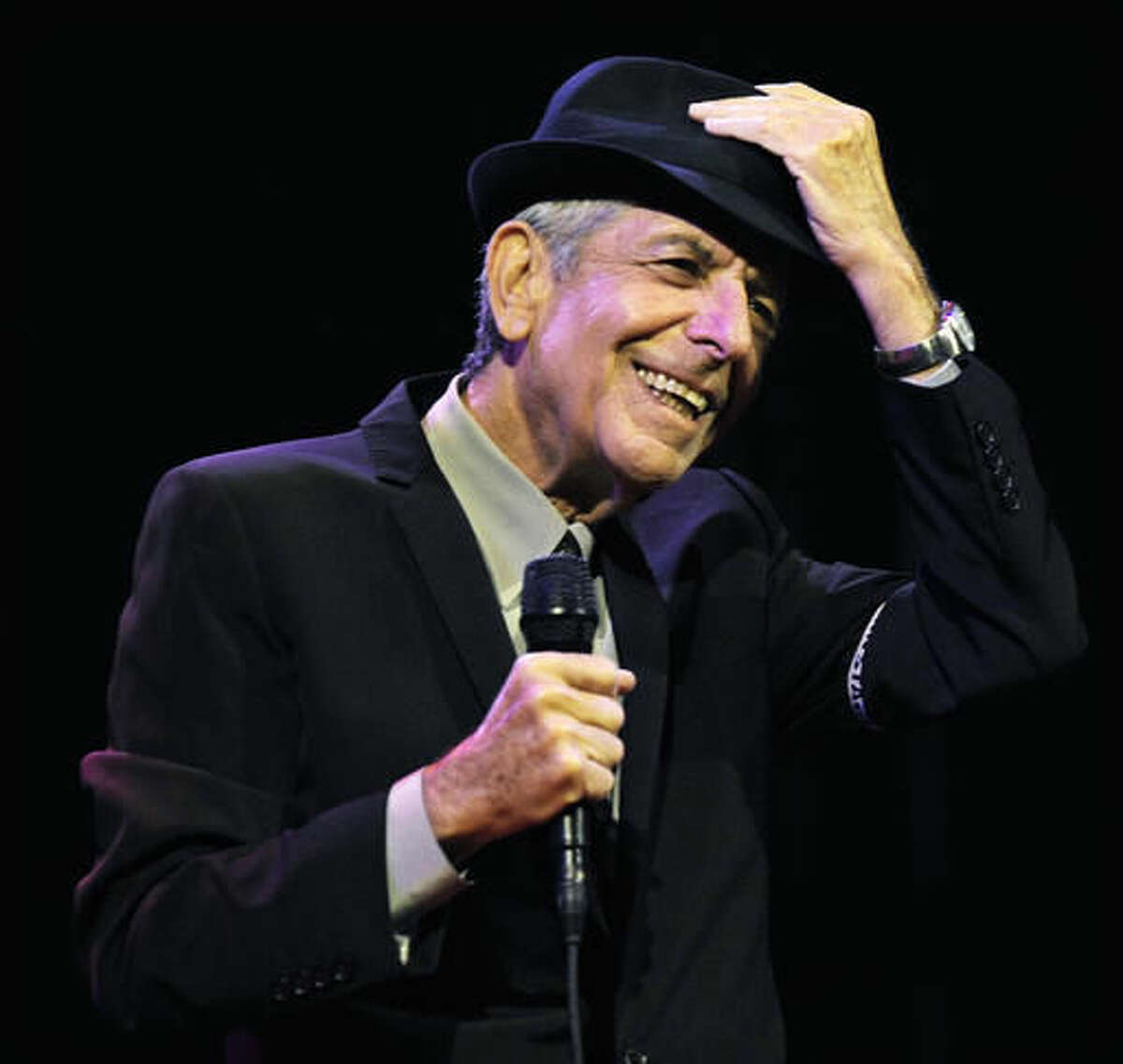 """CORRECTS DATE OF STATEMENT - FILE - In this April 17, 2009, file photo, Leonard Cohen performs during the first day of the Coachella Valley Music & Arts Festival in Indio, Calif. Cohen, the gravelly-voiced Canadian singer-songwriter of hits like """"Hallelujah,"""" """"Suzanne"""" and """"Bird on a Wire,"""" has died, his management said in a statement Thursday, Nov. 10, 2016. He was 82. (AP Photo/Chris Pizzello, File)"""