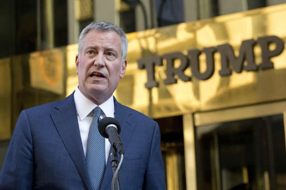 New York Mayor Bill de Blasio holds a news conference in front of Trump Tower following a meeting with President-elect Donald Trump, Wednesday, Nov. 16, 2016, in New York. (AP Photo/Mark Lennihan) Photo: Mark Lennihan