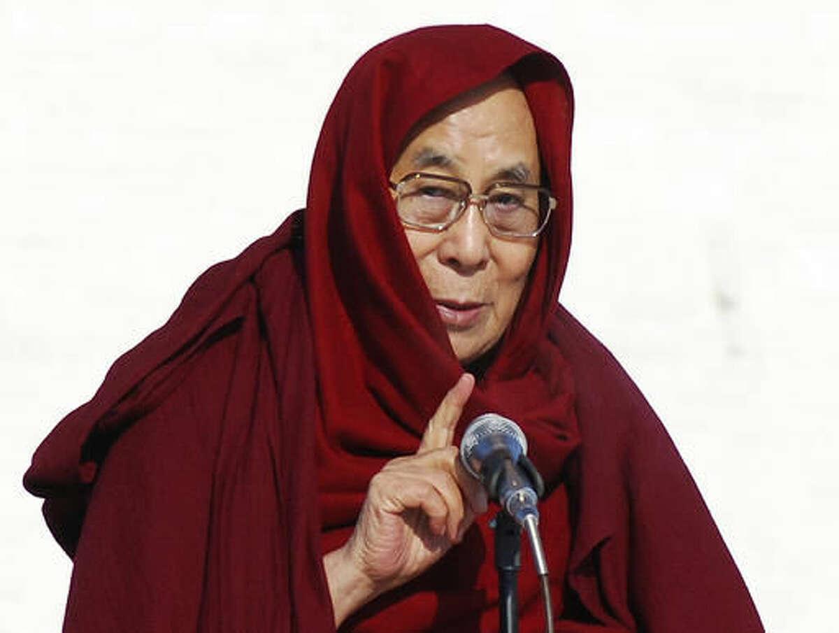 FILE - In this Saturday, Nov. 19, 2016, file photo, the Dalai Lama speaks at the Janraiseg temple of Gandantegchinlen monastery in Ulaanbaatar, Mongolia. Exiled Tibetan spiritual leader the Dalai Lama said Wednesday, Nov 23, 2016, he has