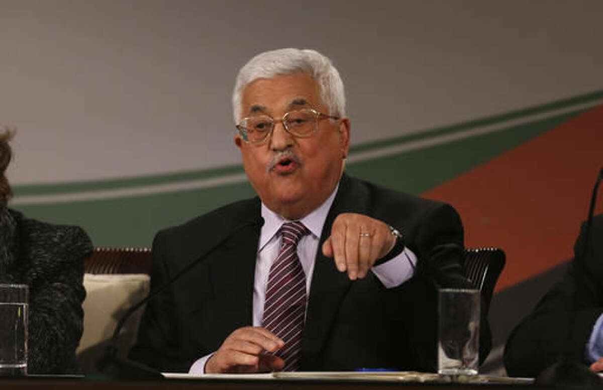 Palestinian President Mahmoud Abbas speaks during the second day of the Fatah party conference, in the West Bank city of Ramallah, Wednesday, Nov. 30, 2016. Palestinian Fatah movement holds its seventh conference in Ramallah with some fourteen hundred members participating and led by Palestinian President Mahmoud Abbas. The conference is to elect the party's two main decision making bodies. (AP Photo/Majdi Mohammed)