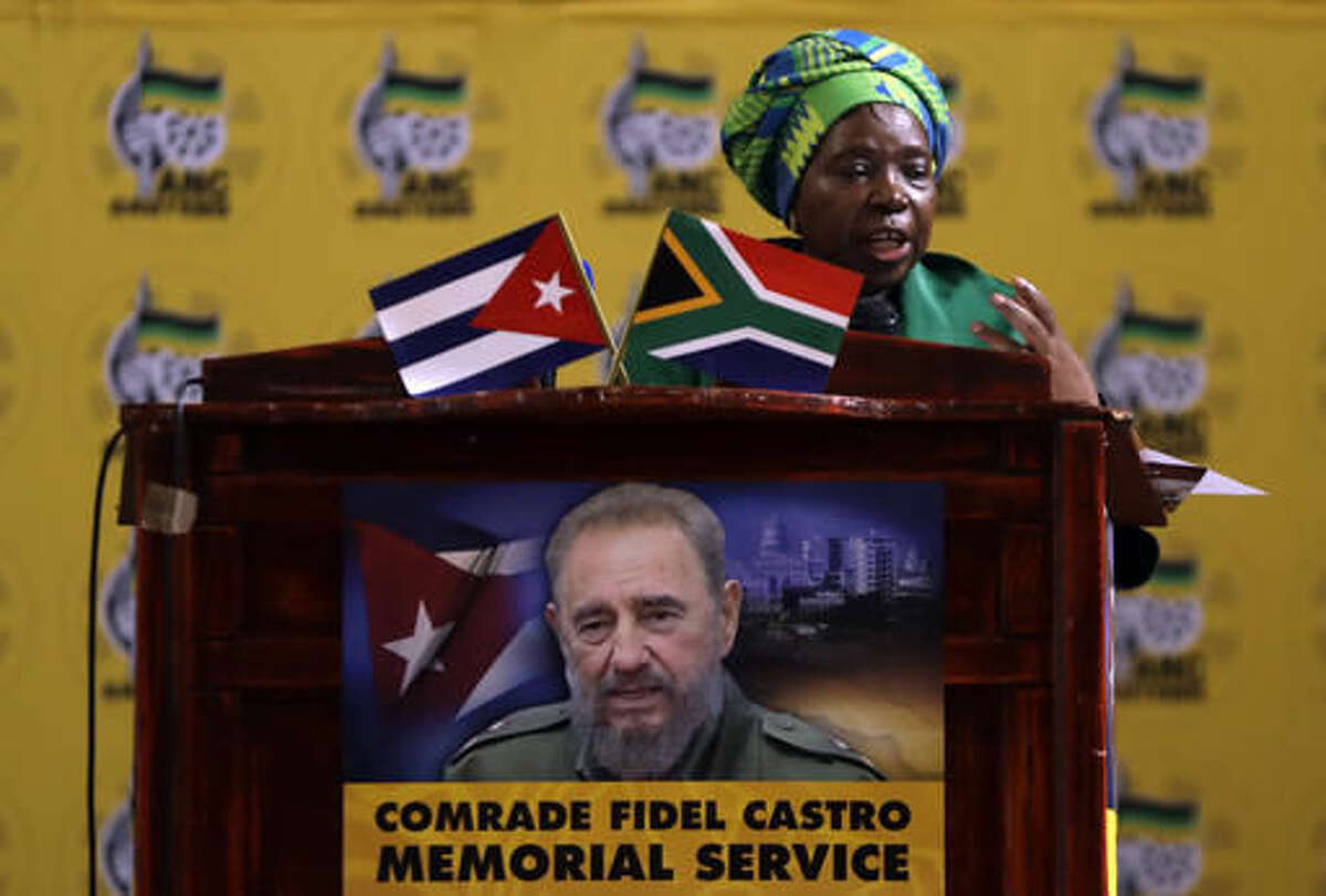 AU Commission chair Dlamini-Zuma, speaks during a memorial service for the late Cuban revolutionary leader Fidel Castro in Johannesburg, South Africa, Wednesday, Nov. 30, 2016. Castro, who led a rebel army to improbable victory, embraced Soviet-style communism and defied the power of 10 U.S. presidents during his half century rule of Cuba, died Friday at age 90. (AP Photo/Themba Hadebe)